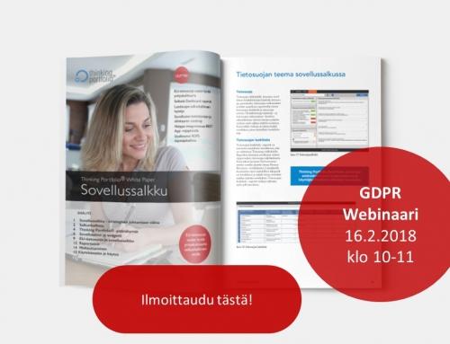 Thinking Portfolio Sovellussalkku ja EU tietosuojan hyvä johtaminen ja hallinta käytännössä (GDPR) 16.2.2018 klo 10