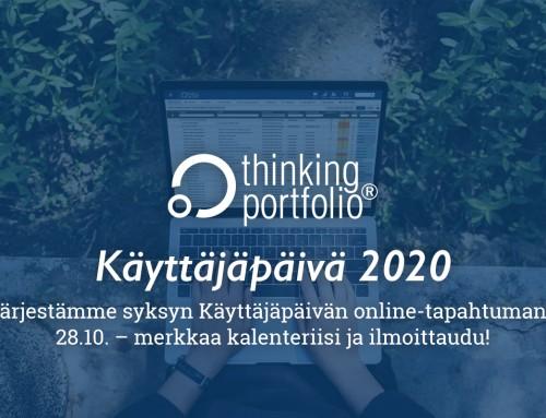 Thinking Portfolio Käyttäjäpäivä 28.10.2020 – osallistu online-tapahtumaamme!