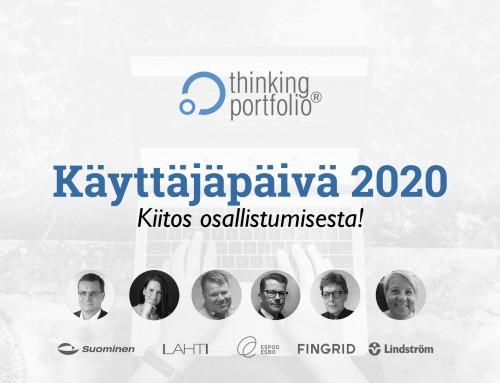 Thinking Portfolio Käyttäjäpäivä 28.10.2020 – esitykset nyt katsottavissa!